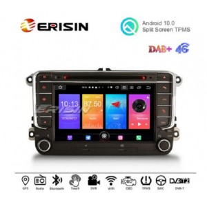 """Erisin ES2758V 7"""" Quad-Core Android 10.0 Car Multimedia with GPS/WiFi/TPMS-IN/DVR-IN/DTV-IN/DAB-IN for VW Skoda Seat"""