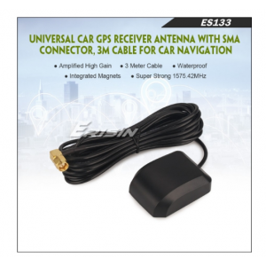 ES133 UNIVERSAL CAR GPS RECEIVER ANTENNA WITH SMA CONNECTOR, 3M CABLE FOR CAR NAVIGATION